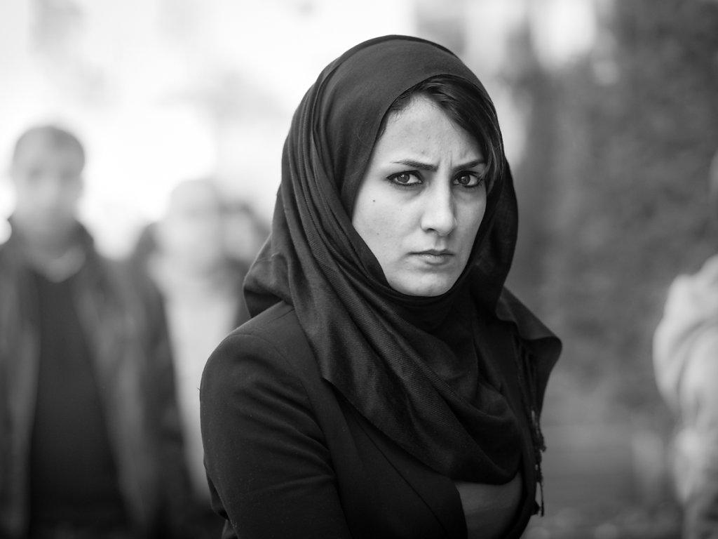 Intense gaze of a woman dressed in black, Istiklal Caddesi - Istanbul