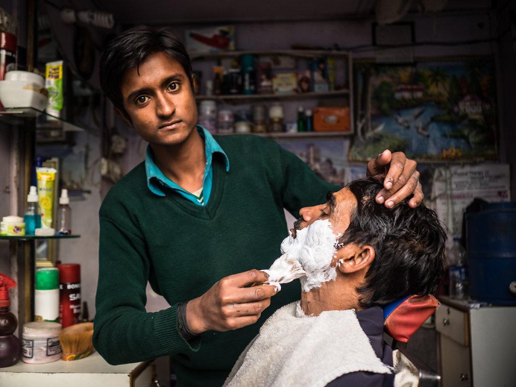 At the barbershop, New Delhi